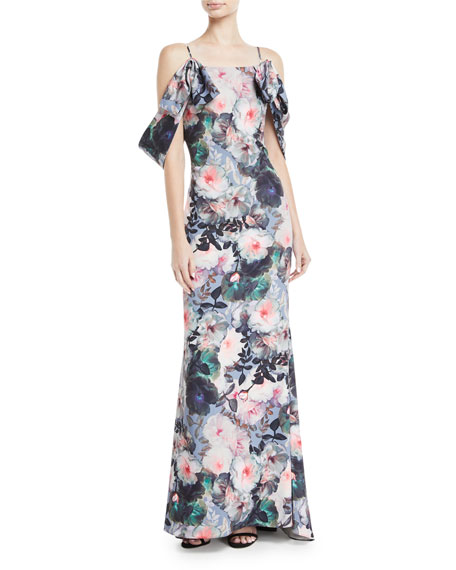 Badgley Mischka Collection Tie-Sleeve Floral-Print Long Gown
