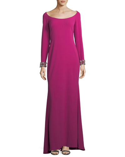 Scoop-Neck Embellished-Cuff Gown