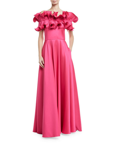 Off-the-Shoulder Ruffle A-Line Gown