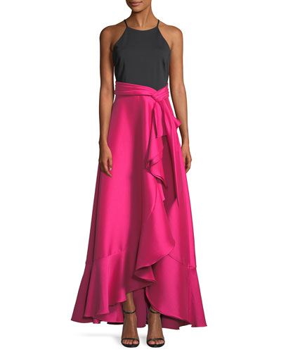 Two-Tone Halter-Neck Ruffle Gown