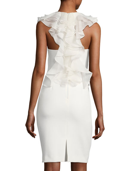 Sleeveless Ruffle-Back Cocktail Sheath Dress