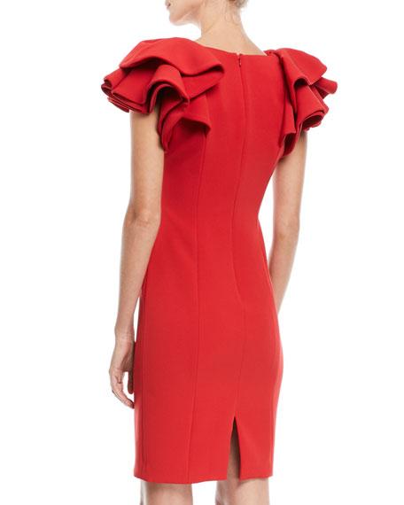 Ruffle-Sleeve Cocktail Dress