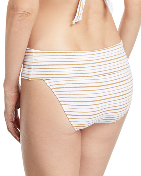 Brussels Metallic-Striped Luxe Swim Bikini Bottoms