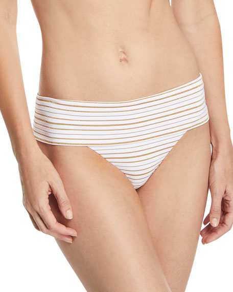 Melissa Odabash Brussels Metallic-Striped Luxe Swim Bottoms and