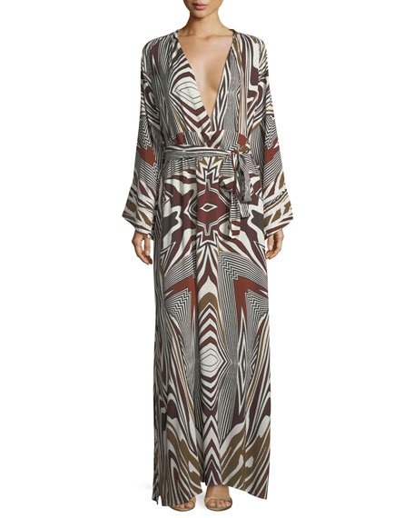 Melissa Odabash Loulou Zebra Long-Sleeve Coverup Dress, One
