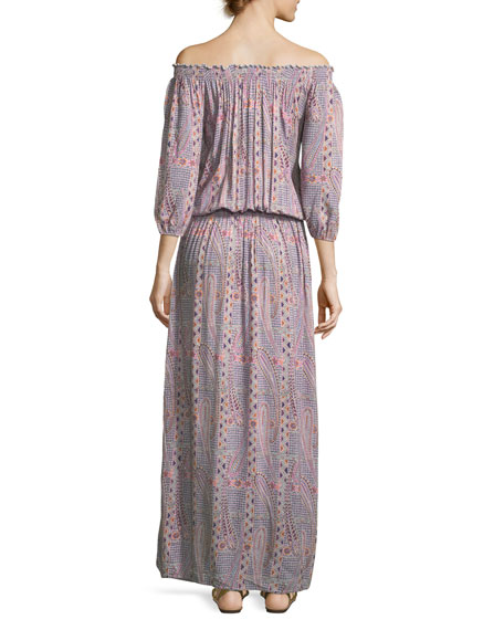 Faith Paisley Peasant Dress, One Size