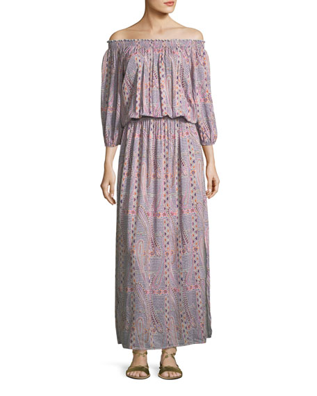 Melissa Odabash Faith Paisley Peasant Dress, One Size