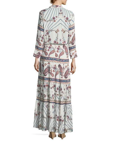 Mel Tie-Neck Paisley Summer Maxi Dress
