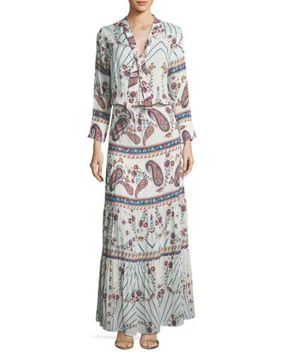 Mel Tie-Neck Paisley Summer Maxi Dress