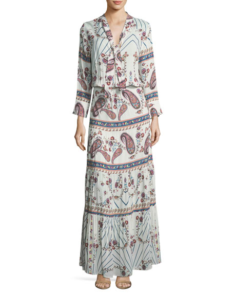 Melissa Odabash Mel Tie-Neck Paisley Summer Maxi Dress