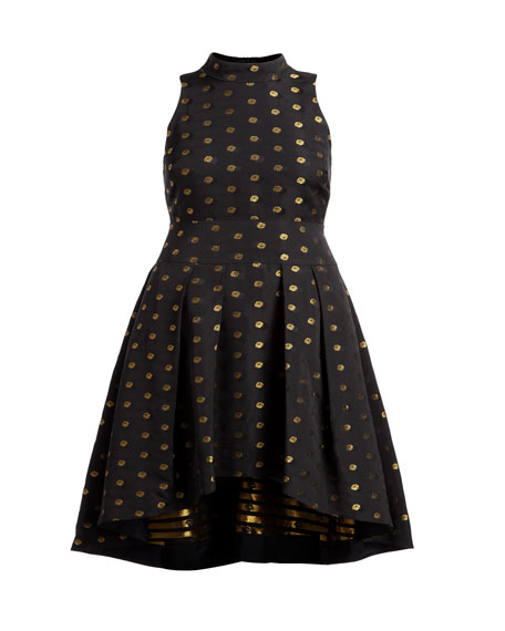 Lewis High-Low Metallic Dot Dress