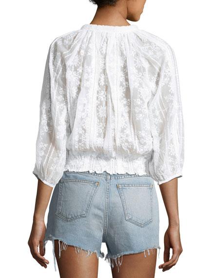 Alexa Woven Peasant Blouse, One Size