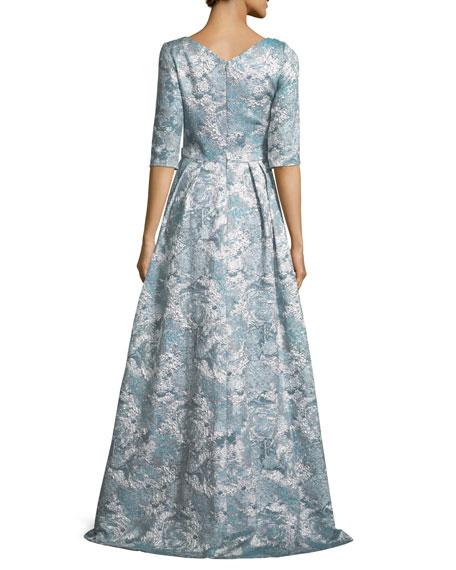 Half-Sleeve Floral Embellished A-Line Gown
