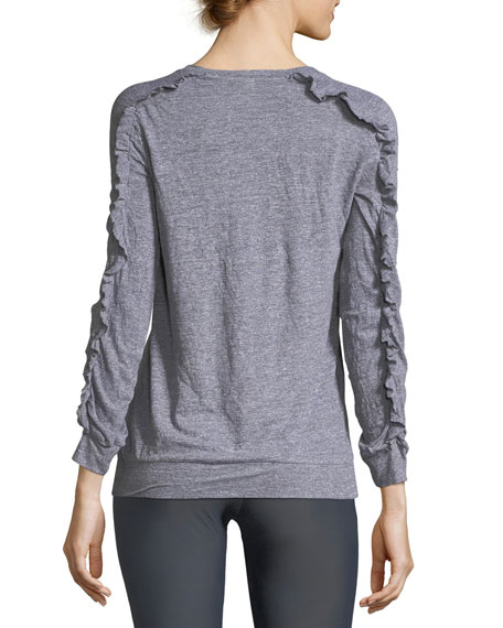 Ruffled Long-Sleeve Scoop-Neck Pullover Top