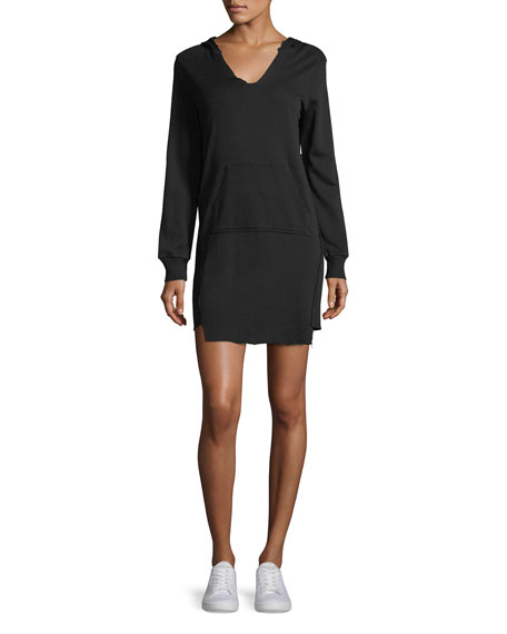 Lanston V-Neck Hooded French Terry Mini Sweatshirt Dress