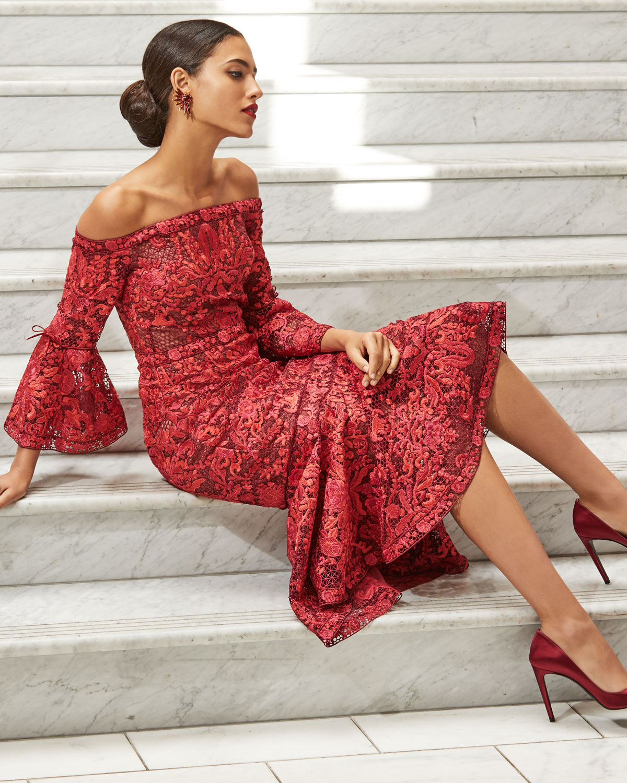 7e833b16 Marchesa Notte Off-Shoulder Lace Bell-Sleeve Midi Cocktail Dress | Neiman  Marcus