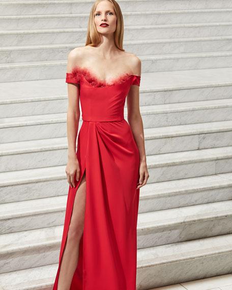 Off-the-Shoulder Crepe High-Slit Gown