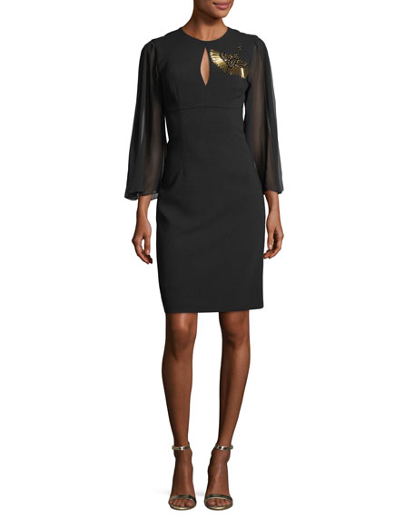 Trina Turk Crepe Embellished Crane Detail Dress