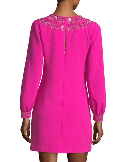 Classic Crepe Embellished Long-Sleeve Dress