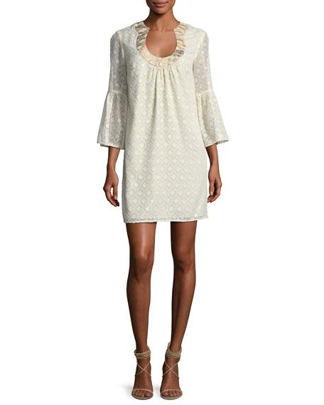 Trina Turk Foiled Hexagon Swirl Jacquard Mini Dress
