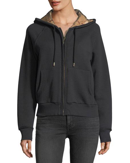 Check-Lined Hooded Jacket, Black