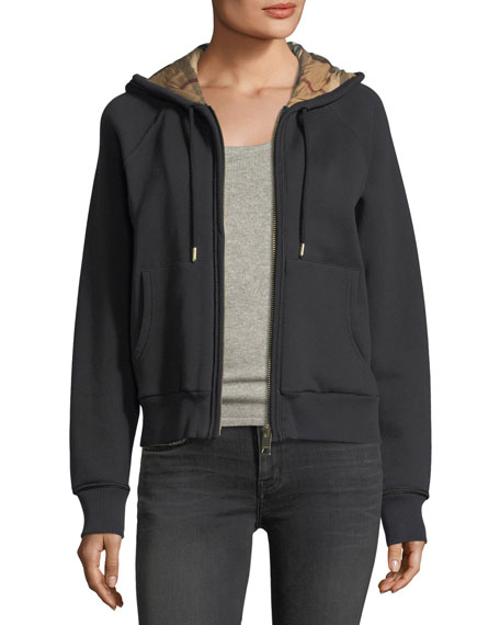 Burberry Check-Lined Hooded Jacket, Black