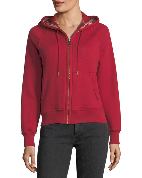 Check-Lined Hooded Jacket