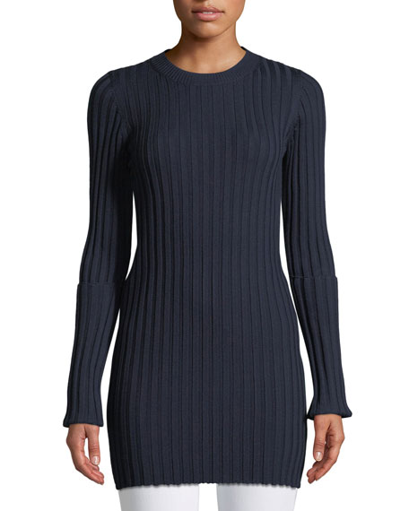Joseph Merino Ribbed Long Tunic Sweater