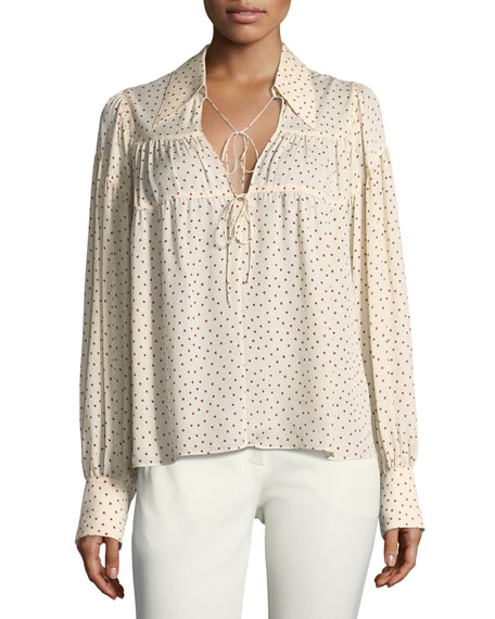 Joseph Crosby Tie-Front Heart-Print Blouse