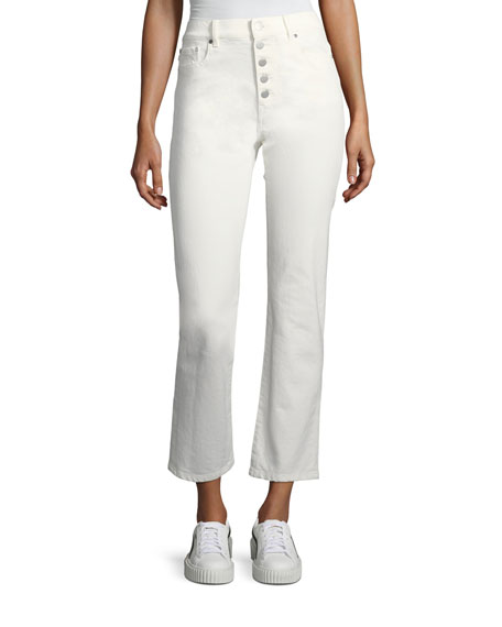 Button-Fly Crop Jeans