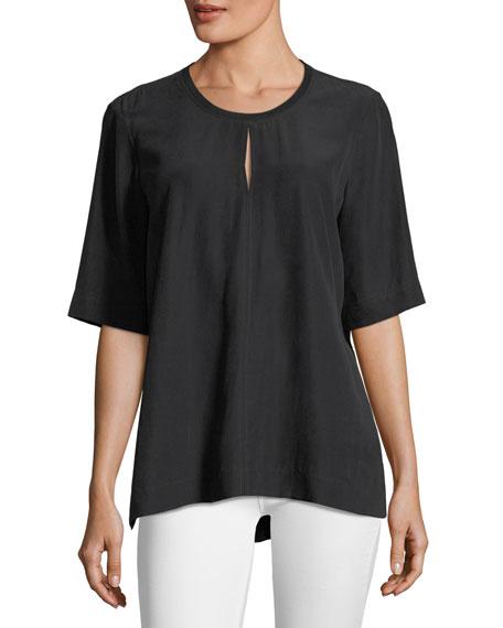 Joseph Micro-Striped Silk Blouse, Black