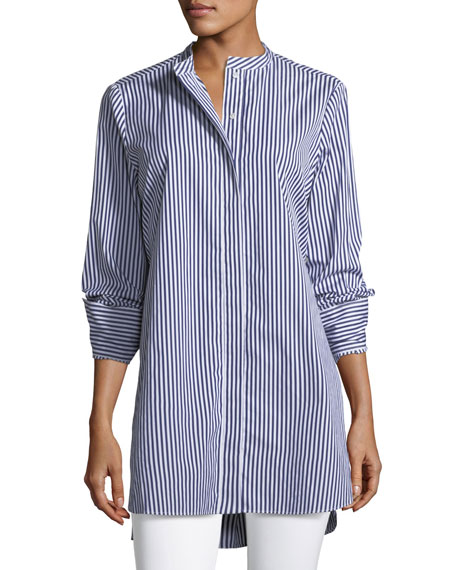 Joseph Carla Candy Striped Button-Front Tunic