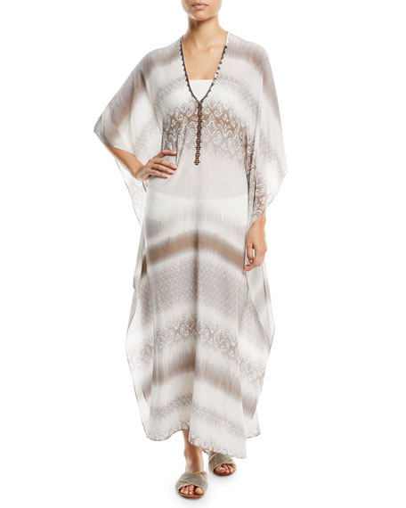 Marie France Van Damme Metallic-Trim Silk Boubou/Caftan Coverup,