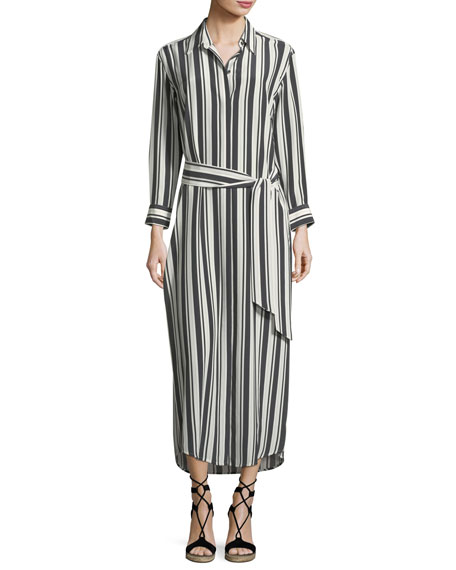 Marie France Van Damme Button-Front Long-Sleeve Striped Silk