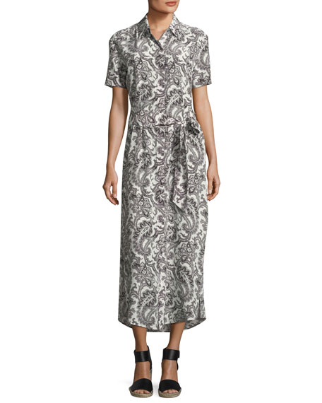 Marie France Van Damme Short-Sleeve Button-Down Printed Maxi