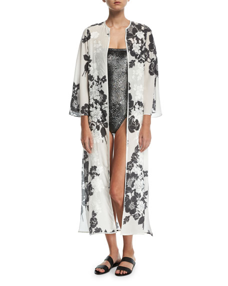 Rose-Embroidered Silk Open Caftan Coverup