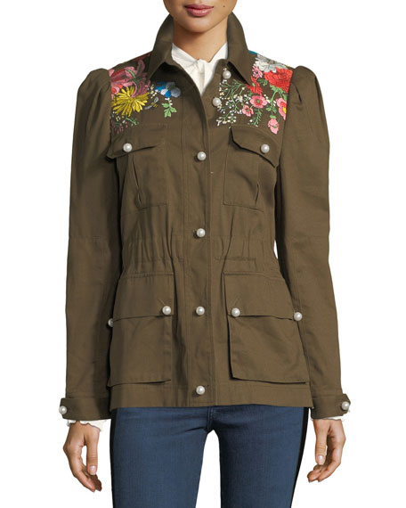 Veronica Beard Huxley Embroidered Utility Jacket