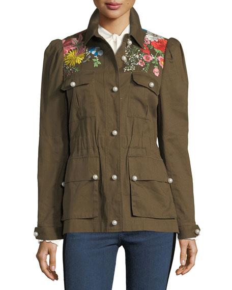 Veronica Beard Huxley Embroidered Utility Jacket