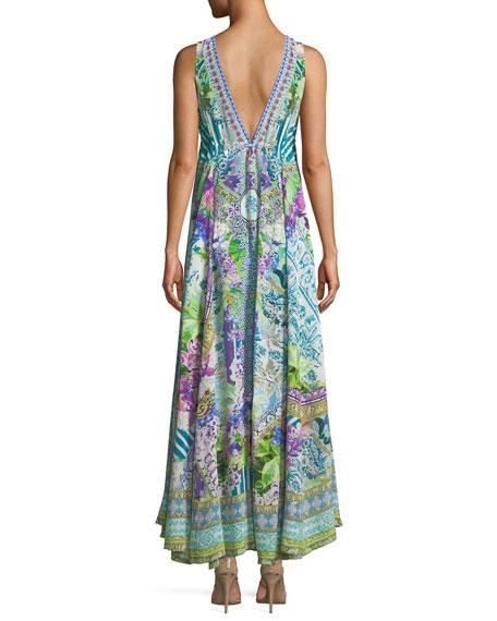 V-Neck Sleeveless Drawstring-Waist Printed Silk Dress, One Size