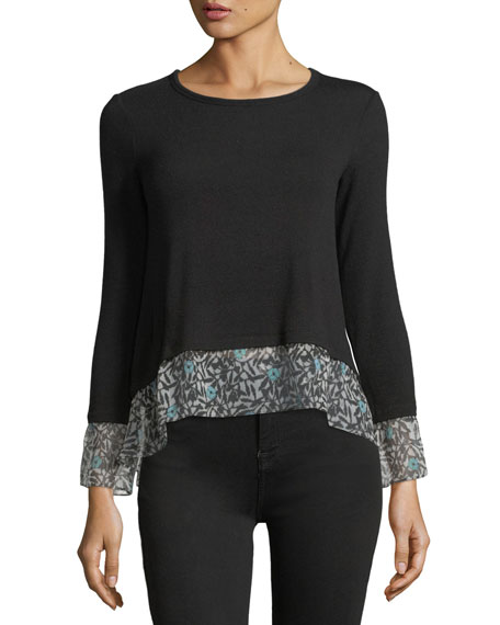 Bailey 44 Taiko Crewneck Knit Top with Printed
