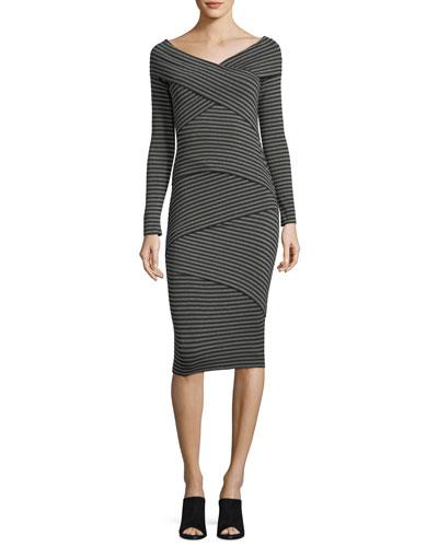 Edamame V-Neck Striped Body-con Midi Dress
