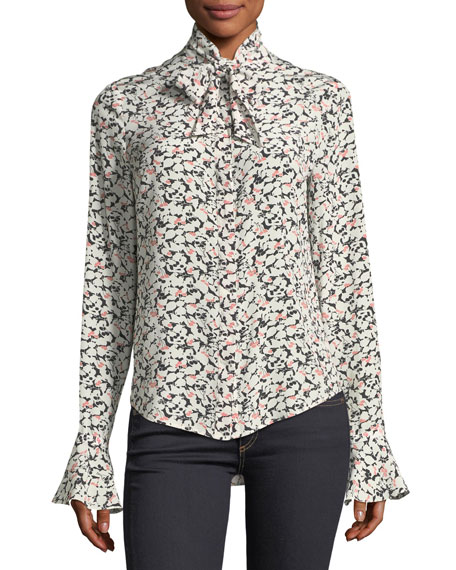 Veronica Beard Gamble Printed Tie-Neck Blouse