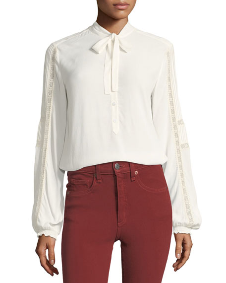 Thayer Tie-Neck Lace-Trim Blouse