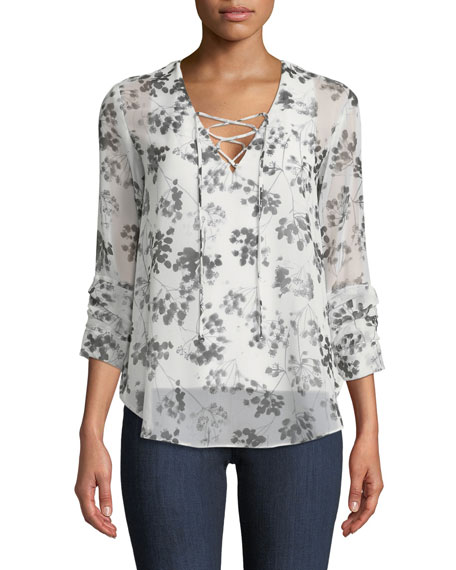 Cherry Blossom Self-Tie Georgette Top