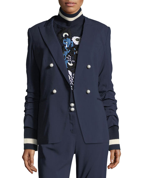 Double-Breasted Ruched-Sleeve Blazer
