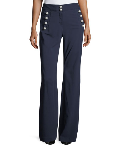 aa524e1aa8a7 VERONICA BEARD ADLEY BUTTON-DETAIL PANTS, NAVY | ModeSens