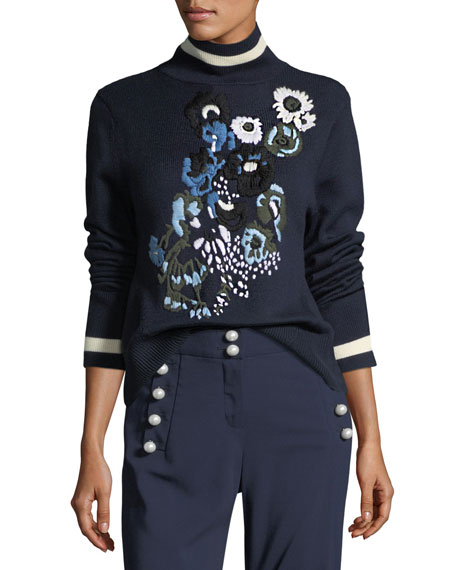 Pia Floral-Embroidered Turtleneck Sweater