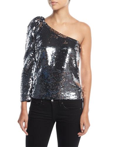 Lantana One-Shoulder Sequin Top