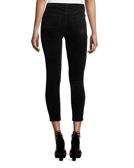 Cherie Lace-Up Skinny-Leg Cropped Velvet Pants