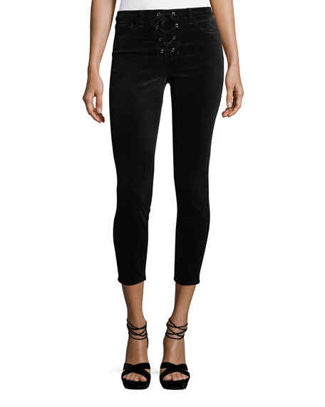 L'Agence Cherie Lace-Up Skinny-Leg Cropped Velvet Pants